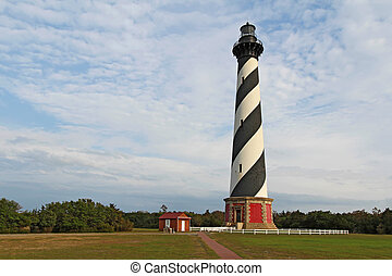 The Cape Hatteras lighthouse near Buxton, North Carolina -...