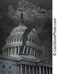 The Capitol building in Washington DC with dark storm clouds and split dome
