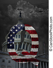 The Capitol building in Washington DC with dark storm clouds , split dome and QAnon symbol