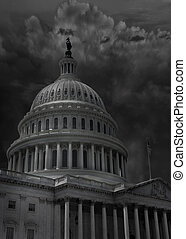 The Capitol building in Washington DC with dark storm clouds