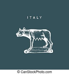 The Capitoline Wolf sculpture drawing. Rome touristic symbol. Vector hand sketched illustration of Italy sights