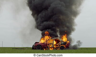 Wheel Burns In Burning Car. Car Explosion.