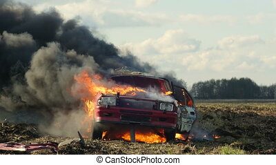 Wheel Explosion In Burning Car. Car Explosion.