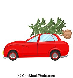 The car carries a Christmas tree isolated on white background