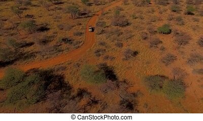 The car goes off-road in the evening in the savannah of Namibia.
