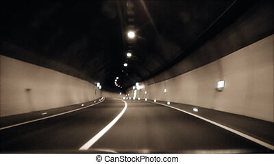 the car goes through a tunnel