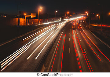 The car light trails on a high-way