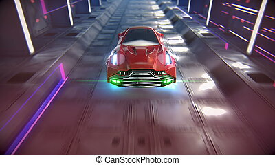 The car of the future goes through the tunnel 3d illustration