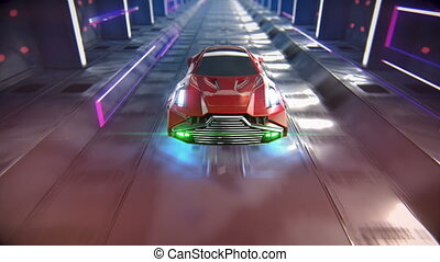 The car of the future goes through the tunnel