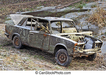 The car of the Russian gangster killed in firing. To the car...