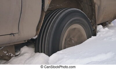 The car stalled in a snowdrift.