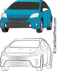 car vehicle vector drawing illustration eps10