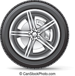 car wheel - The car wheel on the white background