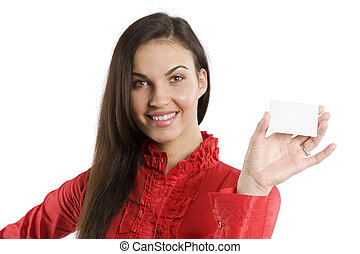 the card and woman