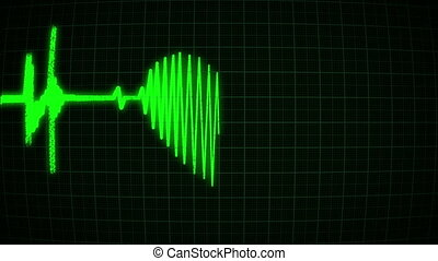 The cardiogram in the shape of a green heart, loop