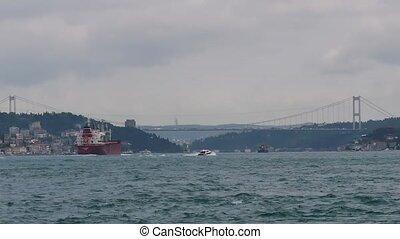 The cargo ship passed the Bosphorus
