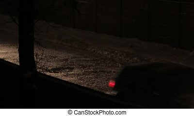 The Cars Passing by Snow Night - Car passing by night dark...