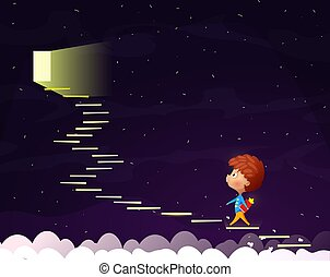 The Cartoon boy goes up the stairs