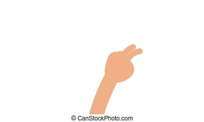 The cartoon flat hand counts fingers from 1 to 5. Loop...