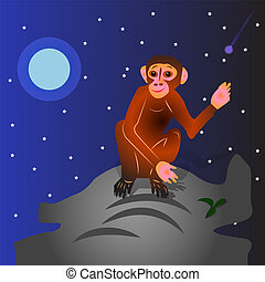The Cartoon Monkey sits on a hill, with a raised hand (gesture, hello). Night landscape against the backdrop of stars and moon,