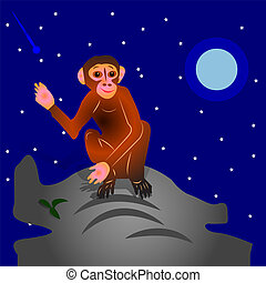 The Cartoon Monkey sits on a hill, with a raised hand. Night landscape against the backdrop of stars and moon,