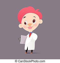 The Cartoon Professor Doctor In White Gown Have Crazy, Funny Face, Vector Illustration