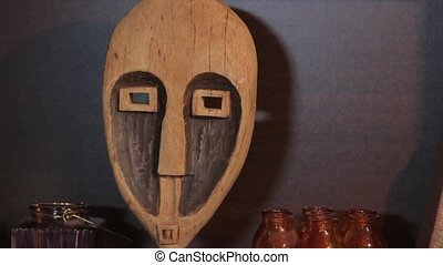 The Carved Wooden Mask - The african handmade wooden carved...