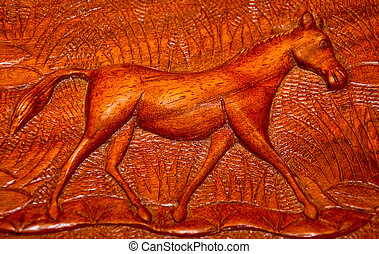 The Carving wood of horse