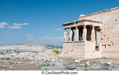 Erechtheion temple on Acropolis Hill, Athens Greece.