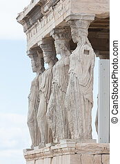The caryatid statues on the porch of the Erechtheion at the Acropolis in Athens