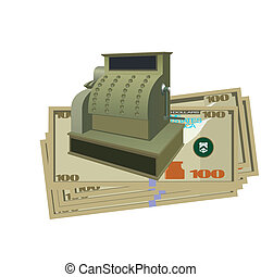 The cash register and money