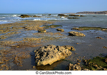 The Caspian Sea coast in stormy weather,Azerbaijan.