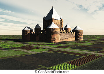 A fortress/castle surrounded by agricultural fields.
