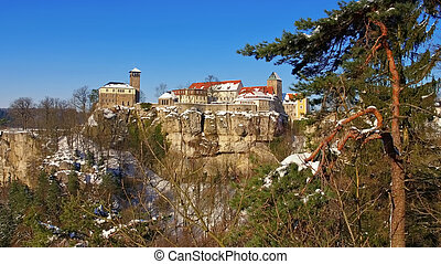the castle Hohnstein in winter, Elbe Sandstone Mountains