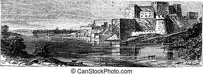 The castle of Brindisi vintage engraving.