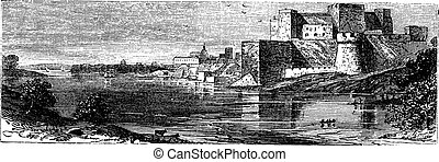 The castle of Brindisi vintage engraving. - Illustration of...