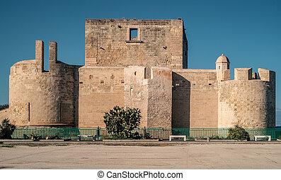 The castle of Brucoli. Syracuse province, Sicily, Italy.