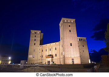 The castle of Fossano by night