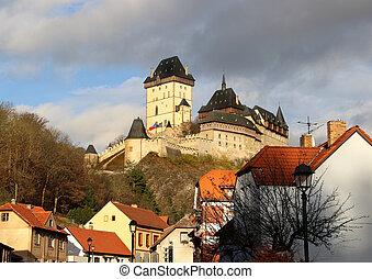 Beautiful view of castle Karlstejn, Czech republic