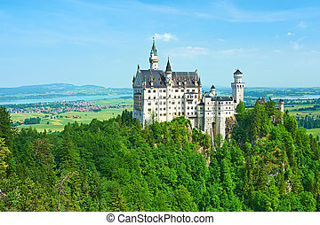 The castle of Neuschwanstein in Germany - The castle of...