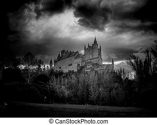 The castle - Panoramic view of the Alcazar of Segovia Castle...
