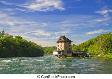 The castle Worth on the Rhine Falls. Northern Switzerland . ...