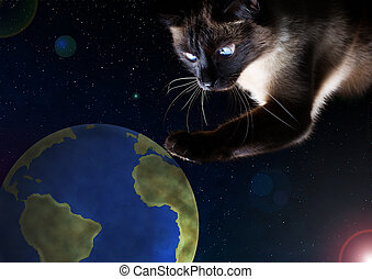 The cat hunts the planet Earth. The concept of the planet Earth is in danger