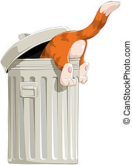 The cat in garbage bin - The red cat rummages in a garbage...