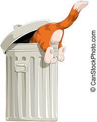 The cat in garbage bin