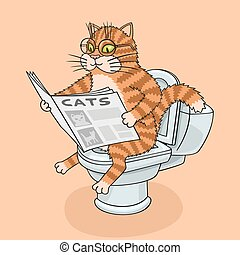 The cat sits on the toilet and reading a newspaper.
