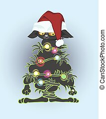 The cat is connected by garland that didn climb on a fir-tree.