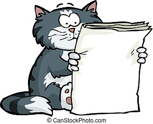 The cat is reading the newspaper on a white background ...