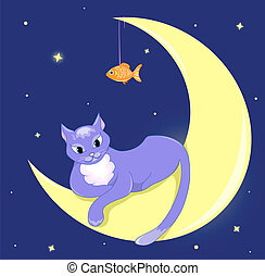 The cat lies on a half moon.