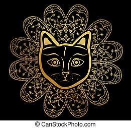 the cat mandala gold